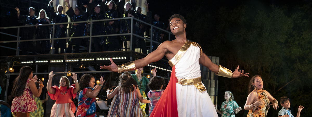 Jelani Alladin and the company of Public Works' HERCULES at The Delacorte Theater, photo by Joan Marcus
