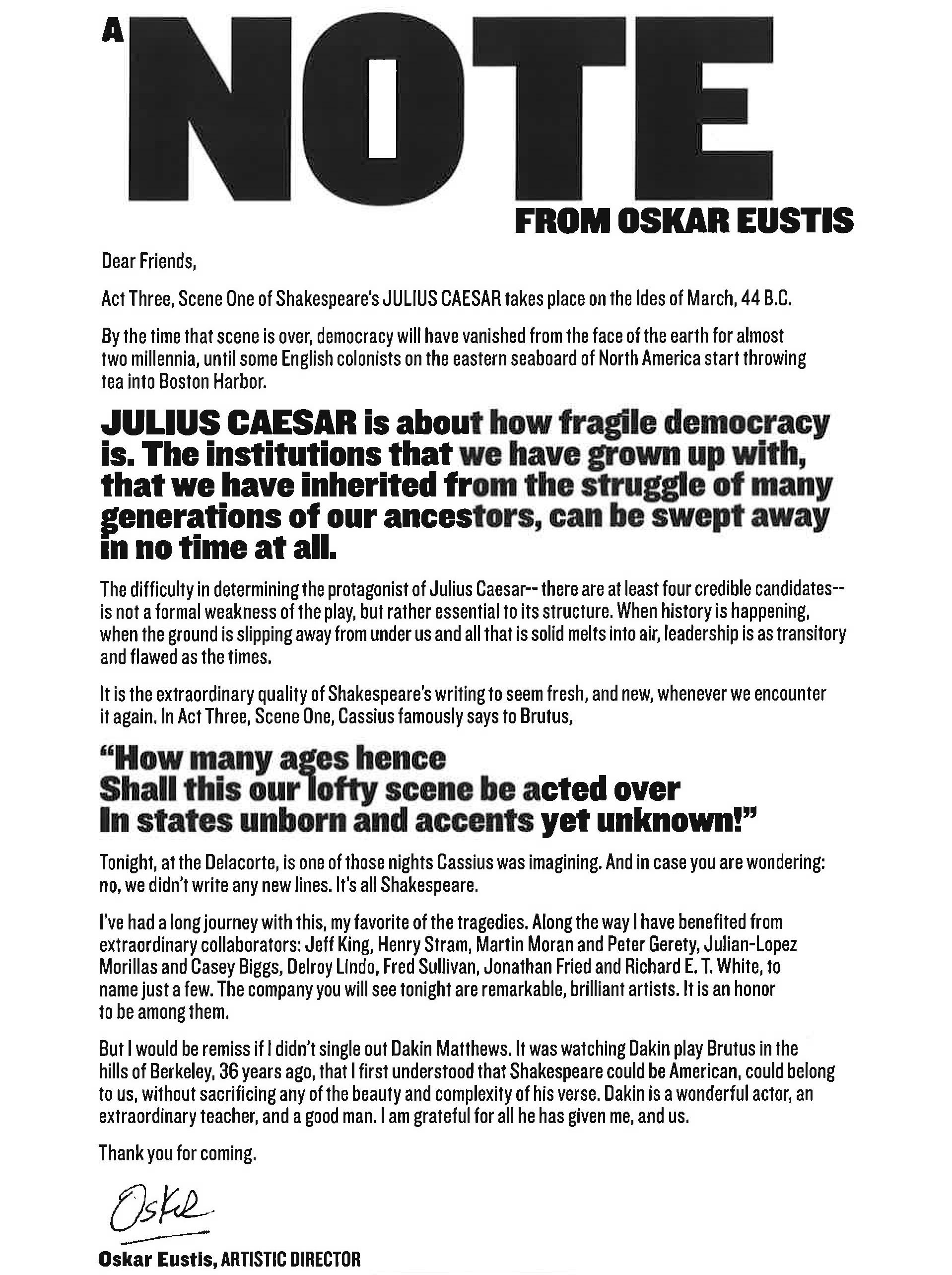 A Letter from Oskar Eustis